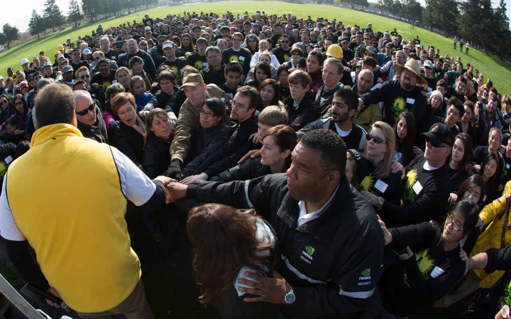Instead of an annual holiday party, nearly 1,000 NVIDIA employees participated in 2 days of physical service at Veggielution for Project Inspire 2012.